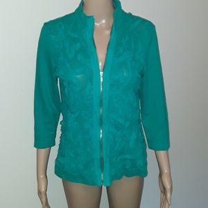 Chico's 0 lightweight textured jacket